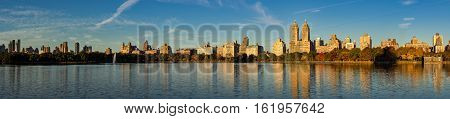 Early morning panoramic view of Jacqueline Kennedy Onassis Reservoir and Centeral Park. Upper West Side in Fall Manhattan New York City