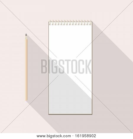 to left handed top view of flat vector design pencil and notebook with blank white sheet on background with long shadow effect