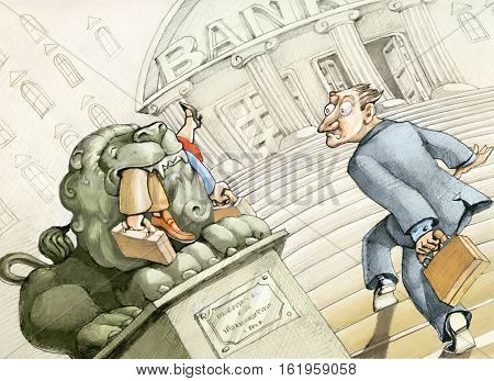 a small investor is entering a bank and see the stone lion at the entrance into the maw those who arrived before him