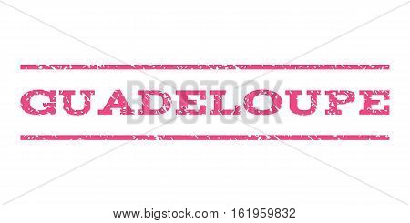 Guadeloupe watermark stamp. Text caption between horizontal parallel lines with grunge design style. Rubber seal stamp with unclean texture. Vector pink color ink imprint on a white background.