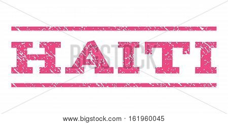 Haiti watermark stamp. Text caption between horizontal parallel lines with grunge design style. Rubber seal stamp with dust texture. Vector pink color ink imprint on a white background.