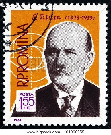 ROMANIA - CIRCA 1961: a stamp printed in Romania shows Gheorghe Titeica Romanian Mathematician and Geometrical Symbol circa 1961
