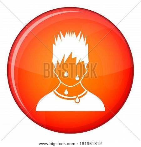 Sweaty man icon in red circle isolated on white background vector illustration