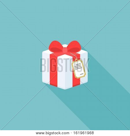 present box icon with tag ,flat design