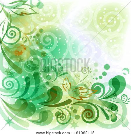 Abstract Background with Symbolic green Floral Patterns, Leaves and Geometric Figures