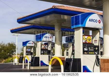 Las Vegas - Circa December 2016: Arco Retail Gas Station. Arco Is Part Of The Tesoro Corporation I