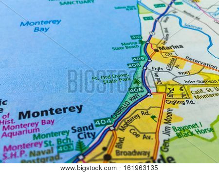 Map of Monterey Bay and the City of Monterey off the Coast of California