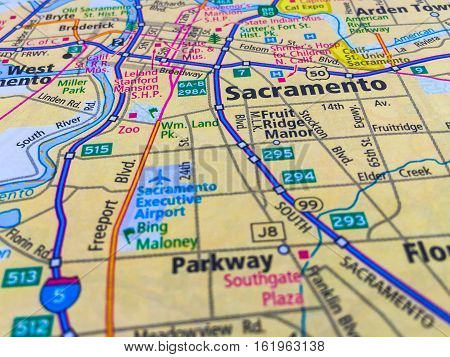 Macro Map of Sacramento , California , USA tilt shift and Interstate 5 running north and south with Rivers and Airport
