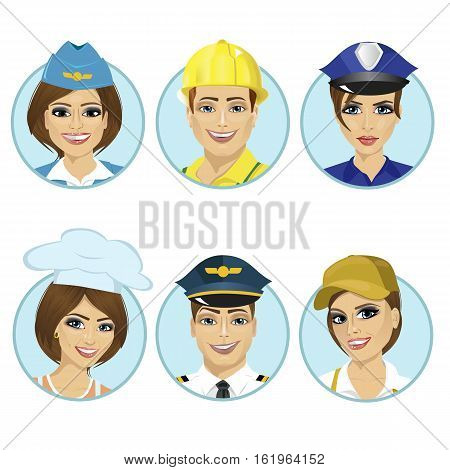 Set of avatars, working man, stewardess, policewoman, chef, pilot isolated on a white background. Collection round the avatar.