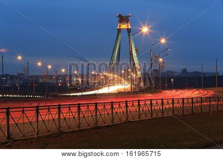 Russia, City transport interchange late autumn evening
