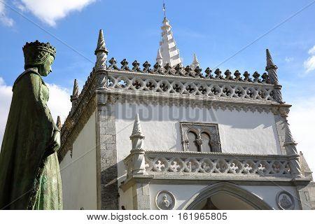 BEJA, PORTUGAL: The Regional Museum and the Statue of the Queen Dona Leonor de Avis