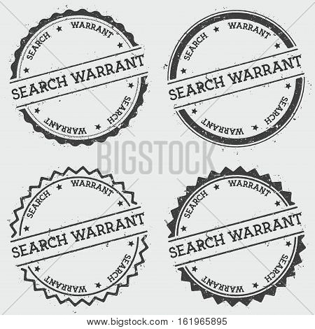 Search Warrant Insignia Stamp Isolated On White Background. Grunge Round Hipster Seal With Text, Ink
