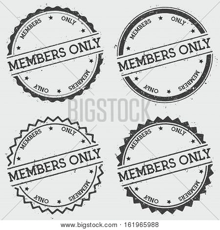 Members Only Insignia Stamp Isolated On White Background. Grunge Round Hipster Seal With Text, Ink T