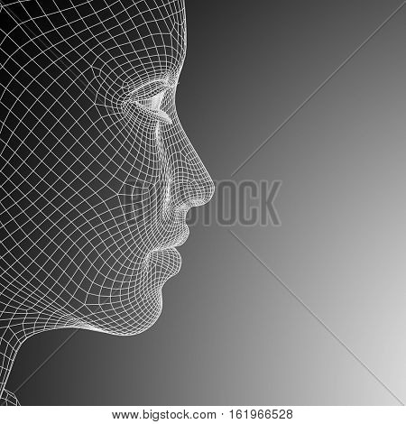 Concept or conceptual 3D illustration wireframe young human female or woman face or head on black and white background