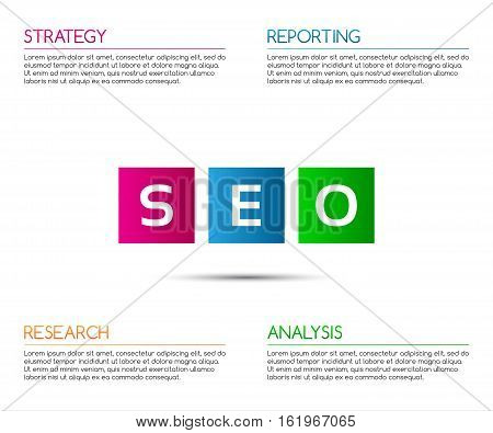 Minimalistic seo infographic template for your business project vector illustration