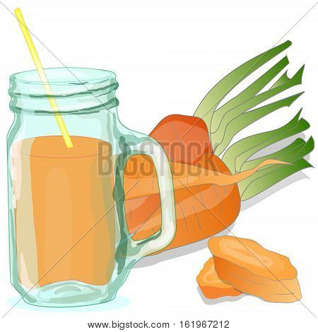 Fresh-squeezed carrot juice isolated on white .