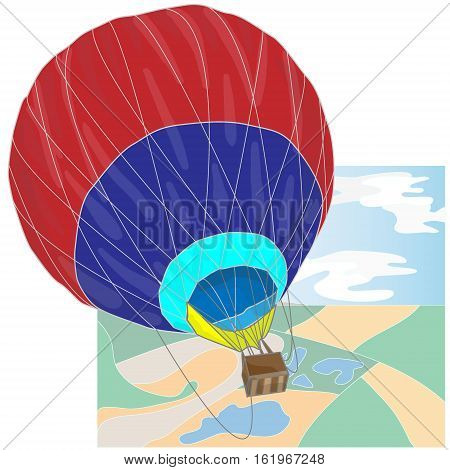 Hot Air Balloon / montgolfier on white.