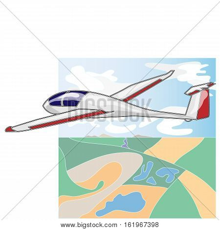 Glider sailplane illustration isolated on sky background