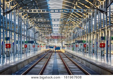 MALAGA, SPAIN - NOVEMBER 14, 2014: Track terminal in Malaga Maria Zambrano railway station. is the principal railway station in the city Malaga.