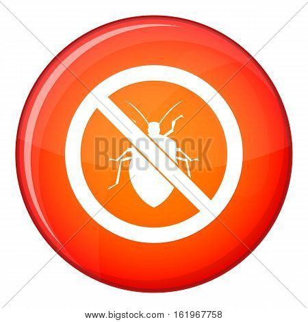 No bug sign icon in red circle isolated on white background vector illustration
