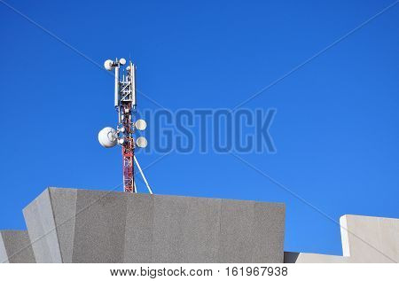 Cellular antenna on the roof of a house in Egypt.