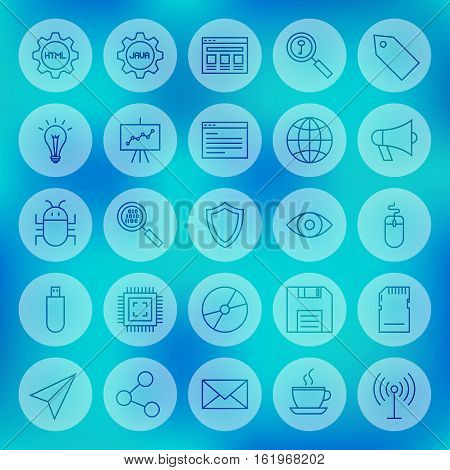 Line Circle Web Computer Icons. Vector Illustration of Outline Programming Symbols over Blurred Background.