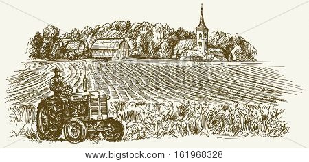 Tractor in field. Hand drawn vector illustration.