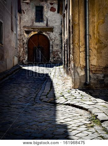 background dark street in the old town