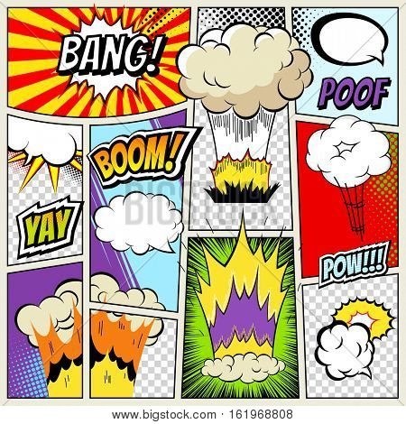 Abstract Creative concept vector comics pop art style blank layout template with clouds beams, isolated dots pattern. Comic book explosion for Web and Mobile Applications, illustration template design