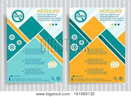 Without Genetically Modified Food Web Symbol On Vector Brochure Flyer Design Layout Template
