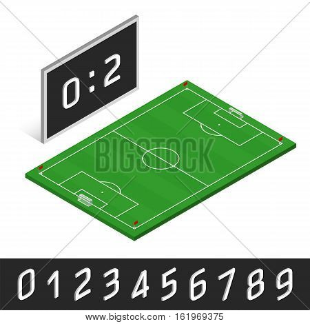 3D vector illustration of football (soccer) match. Black isometric scoreboard, game score counter. Sports collection infographics, set of isometric white numbers on information board