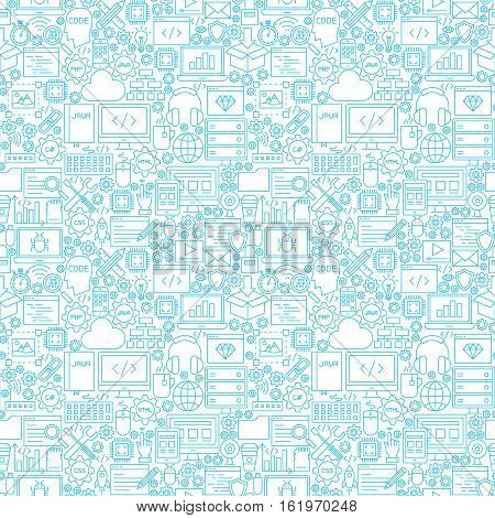 Line Programming White Seamless Pattern. Vector Illustration of Outline Tile Background. Coding Resources.