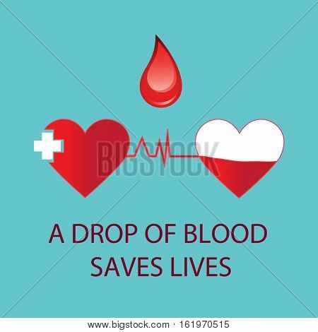 A drop of blood saves lives.Cardiogram blue on background.