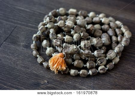 Japa mala rosary - hinduism and buddism rosary made from tulsi tree for hare krishna chanting.