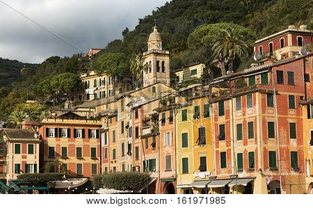 Detail of the small town of Portofino with the colorful houses and the bell tower of the church of St. Martin. Genova Liguria Italy