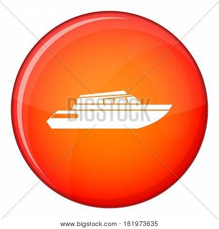 Planing powerboat icon in red circle isolated on white background vector illustration