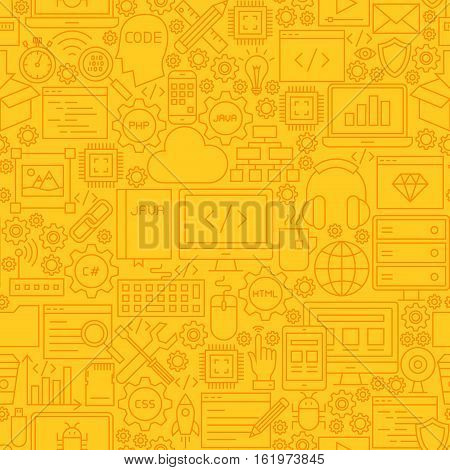 Programming Yellow Line Tile Pattern. Vector Illustration of Outline Seamless Background. Coding Resources.