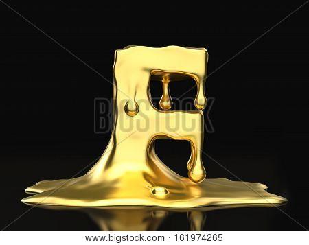 Liquid Gold Letter F 3D Illustration