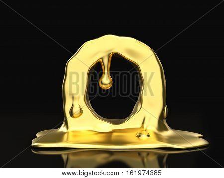 Liquid Gold Letter O 3D Illustration