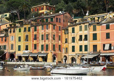 PORTOFINO ITALY - DECEMBER 9 2016: The village of Portofino with the port and colorful houses. Genova Liguria Italy