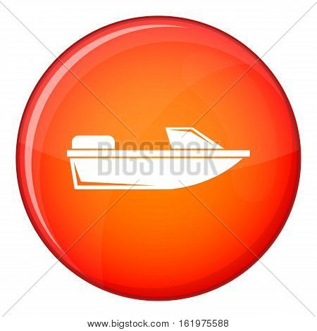 Sports powerboat icon in red circle isolated on white background vector illustration