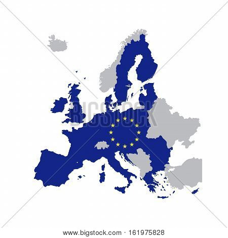 European Union map with stars of the European Union map of member states in 2016 vector illustration isolated on white background