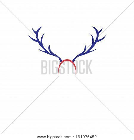Christmas icon with horns on a white background