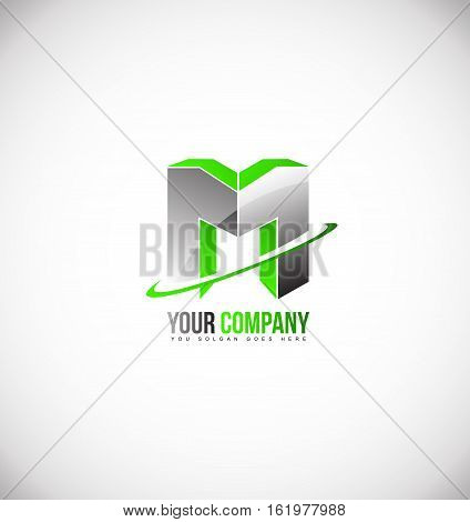 Alphabet letter m green 3d vector logo icon sign design template