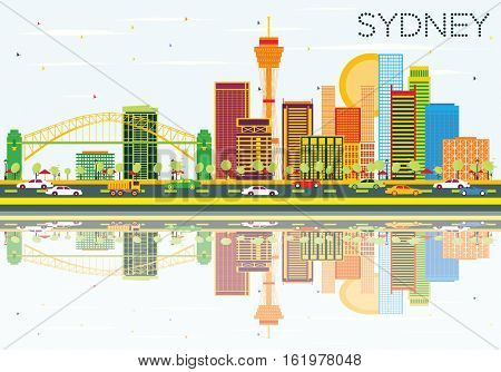 Sydney Skyline with Color Buildings, Blue Sky and Reflections. Vector Illustration. Business Travel and Tourism Concept with Modern Architecture. Image for Presentation Banner Placard and Web Site.