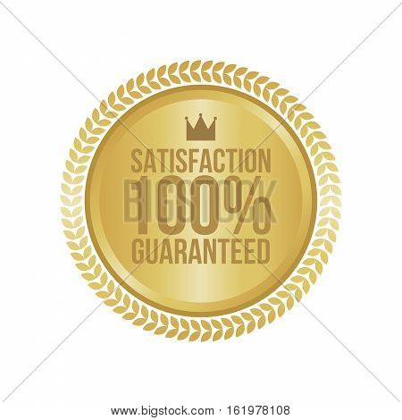 Vector Satisfaction Guaranteed Gold Sign, Round Label