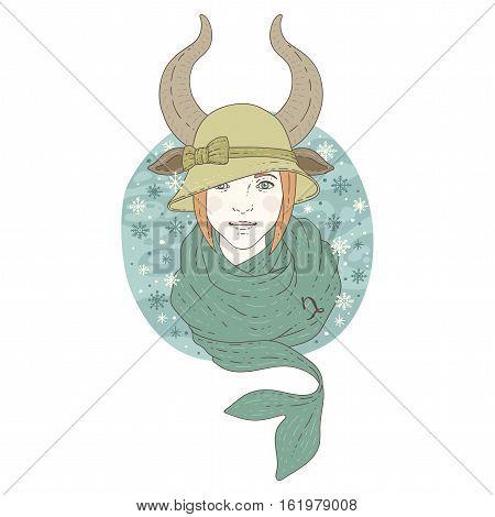 Capricorn zodiac sign. Winter season illustration. Vector illustration isolated on white.