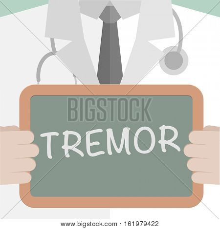 minimalistic illustration of a doctor holding a blackboard with Tremor text, eps10 vector