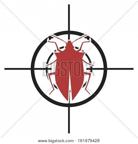 illustration of a scope with a bug, symbol for pest control, eps10 vector