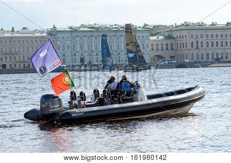 02.09.2016.Russia.Saint-Petersburg.Athletes from different countries took part in competitions on the yachts.